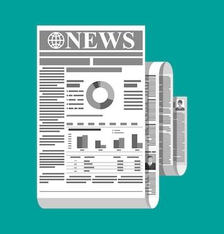 Свернутая ежедневная газета в черно-белом цвете. список новостей журнала