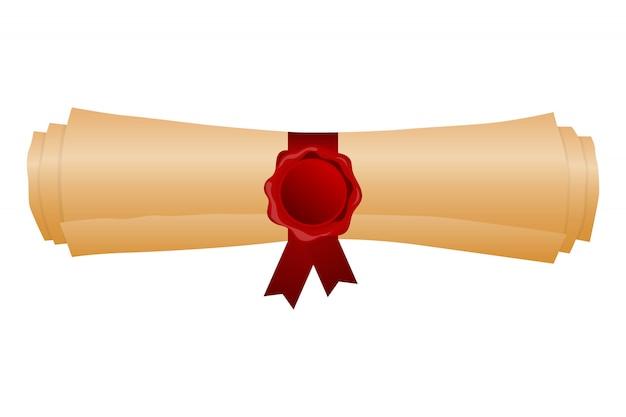 Свернутая иллюстрация диплома градации изолированная на белизне