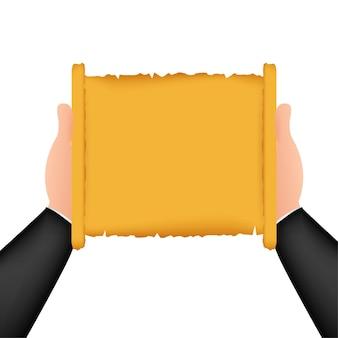 압연된 오래된 파피루스 파일 모형. 압연된 오래 된 파피루스 파일의 현실적인 그림입니다. 벡터 일러스트 레이 션.