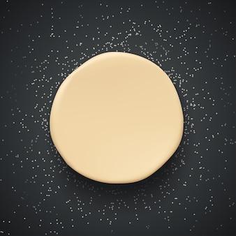 Раскатать круглое тесто на темном