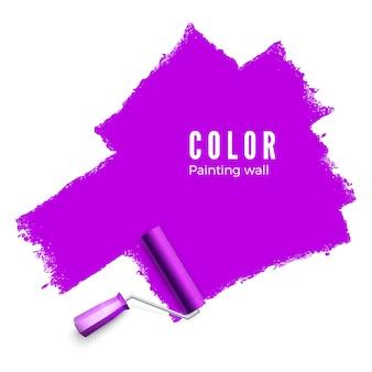 テキストのローラーブラシ。ペイントローラーブラシ。ローラーでペイントするときのカラーペイントテクスチャ。壁を紫色に塗る。白い背景の上の図