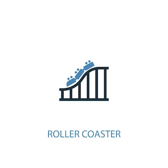 Roller coaster concept 2 colored icon. simple blue element illustration. roller coaster concept symbol design. can be used for web and mobile ui/ux