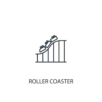 Roller coaster concept line icon. simple element illustration. roller coaster concept outline symbol design. can be used for web and mobile ui/ux