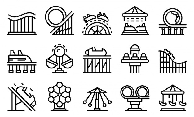 Roller coaster icons set