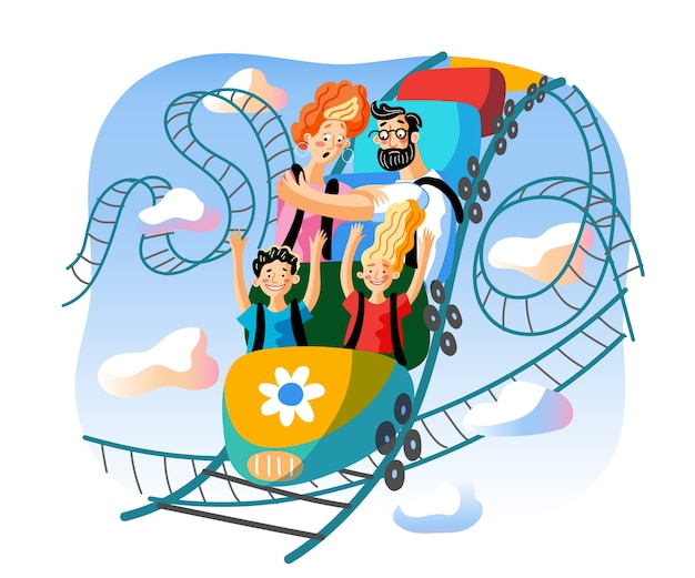 Иллюстрация езды на американских горках, веселые дети и напуганные персонажи мультфильмов взрослых.