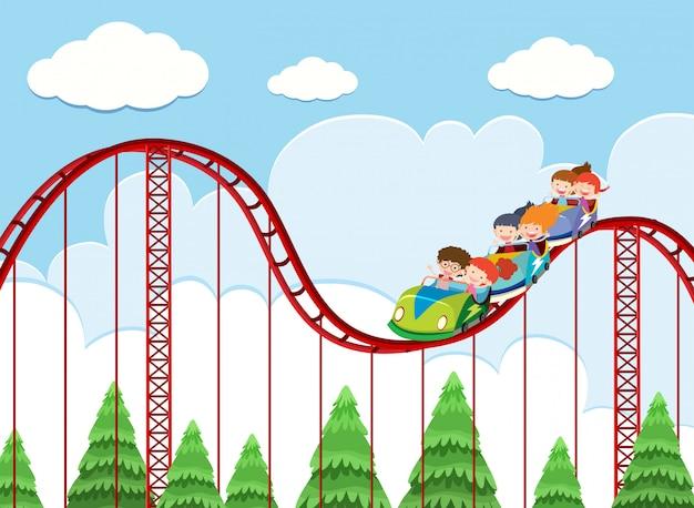 A roller coaster ride at theme park