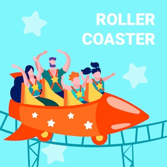 Roller coaster space dream advertising print card