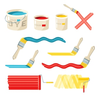 Roller and paint brushes
