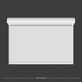 Roller shutter on the euro window. realistic euro window with roller shutters vector.