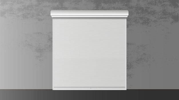 창 3d용 롤러 셔터. 창문용 폐쇄형 롤러 셔터. 현실적인 벡터입니다.