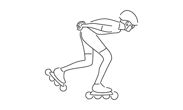 ローラースケート選手の線画イラスト