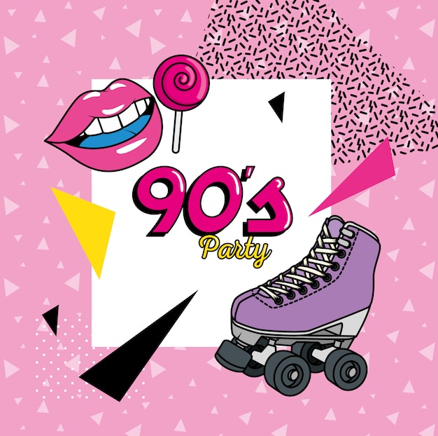 Roller skate with elements of nineties art style