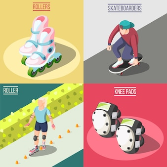 Roller and skateboarders concept illustration