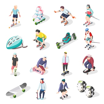 Roller and skateboarders isometric icons