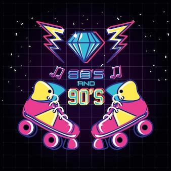 Roller skates of eighties and nineties retro