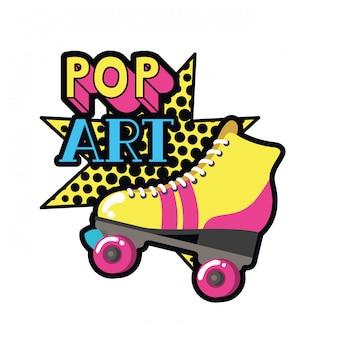 Roller skates pop art icon