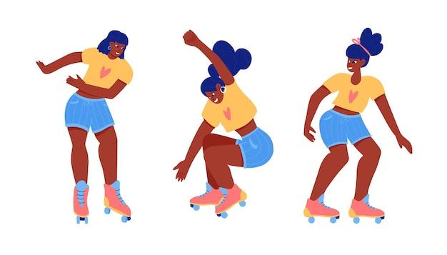 ローラースケートのティーンコレクション。黒人の女の子のローラーブレード。