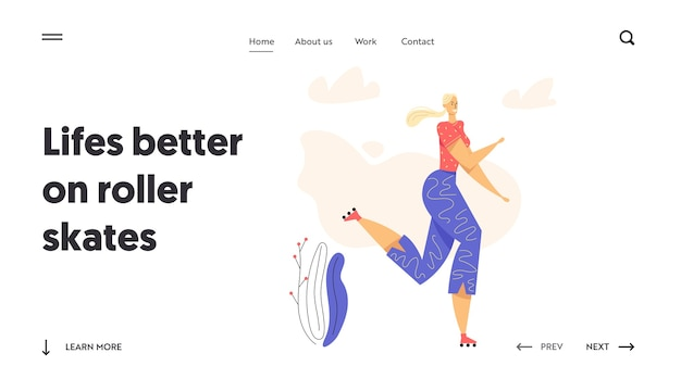 Rollerblading female character landing page. happy young woman on roller skates.