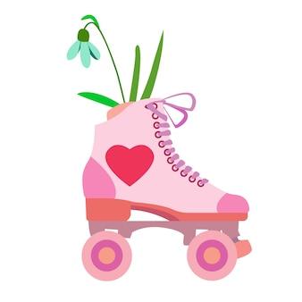 분홍색 부츠 안에 꽃이 있는 롤러 쿼드라