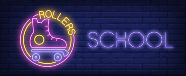 Rollers school neon sign. vintage roller skate and glowing inscription on brick wall.