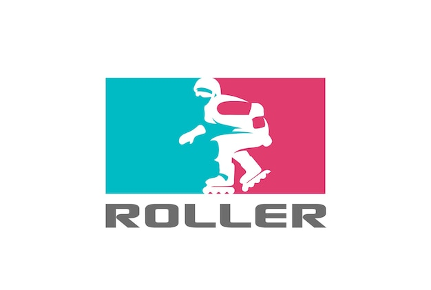 Rollerskating silhouette logo icon. negative space style.