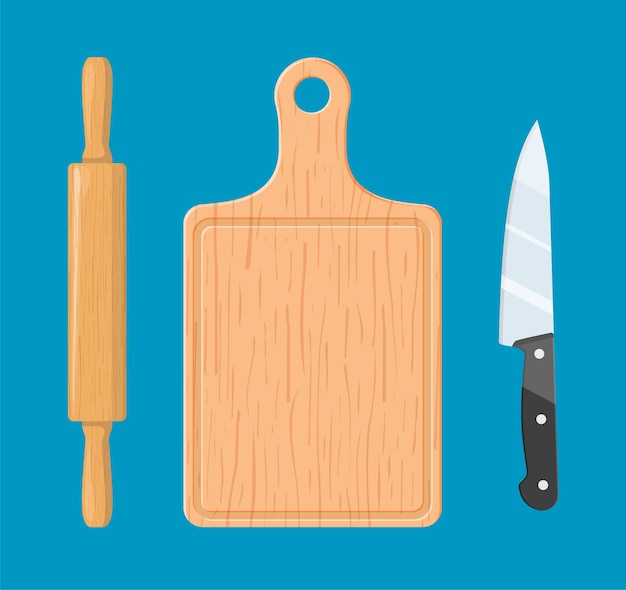 Rolling pin, cutting board and knife