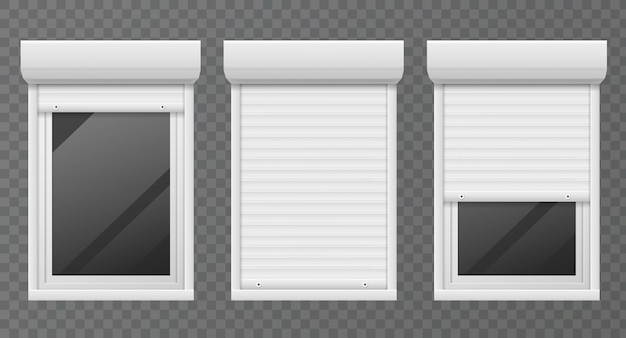 Rolling shutters. windows roller blind metal frame, white jalousie, facade house safety office window  set