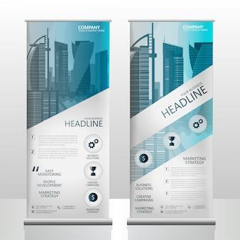 Rollup banner ocean blue business brochure template