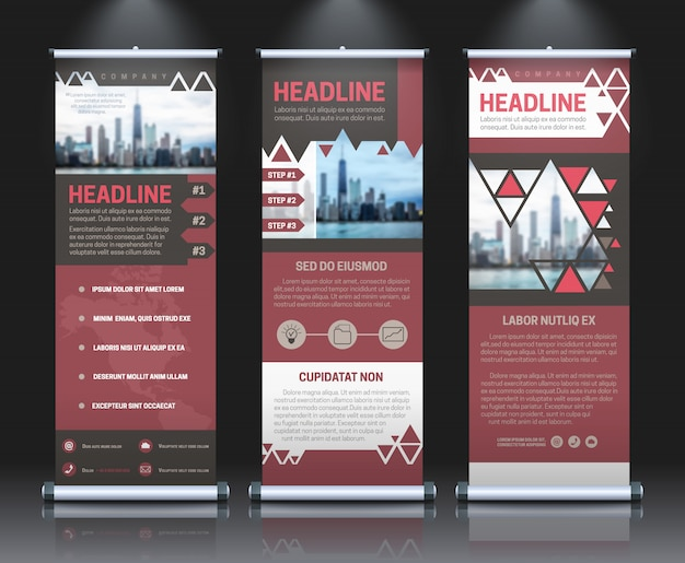 Rollup banners template with business presentation