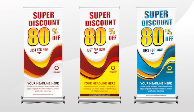 Rollup or standing x-banner template super special offer sale discount set
