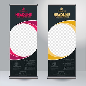 Rollup xbanner design vertical template with abstract rounded shapes and transparent copyspace for photo, modern display