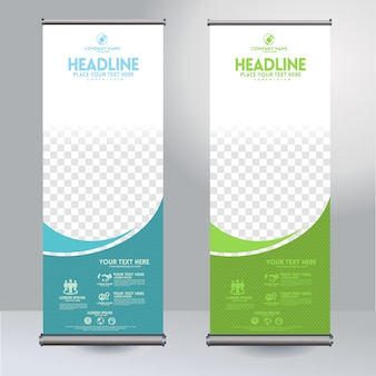 Rollup xbanner design vertical template with flow lines and transparent copyspace for photo, modern display