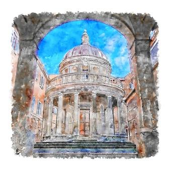Roma italy watercolor hand drawn illustration