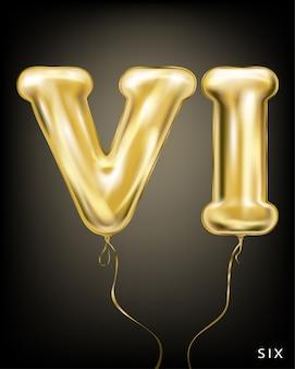 Роман 6, золотая фольга, воздушный шарик vi формы