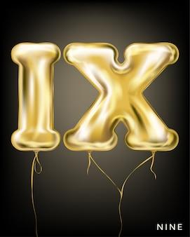Римлянин 9, золотой фольгированный шар ix формы