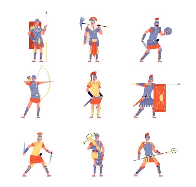 ローマ軍。古代ローマ、戦争の戦いの軍団の戦士。ヘルメットの衣装、フラット帝国軍のベクトル文字で孤立した漫画のアンティークの人々。ローマ軍、武器のイラストと質素なキャラクター