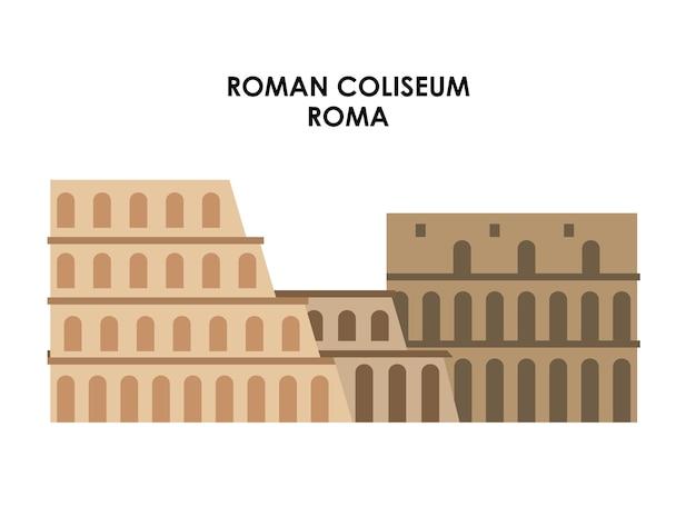 Значок римского coliseum. италия дизайн культуры. векторная графика