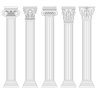 Roman column set, greek pillar ancient architecture, greece antique doric, ionic, corinthian columns.