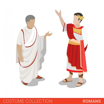 Roman empire caesar and senator vector illustration.