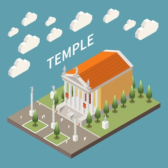 Roman empire temple building isometric illustration