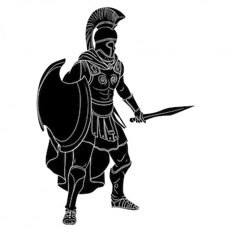 Roman empire warrior in armor and a helmet with a weapon in hand stands ready for attack and defense
