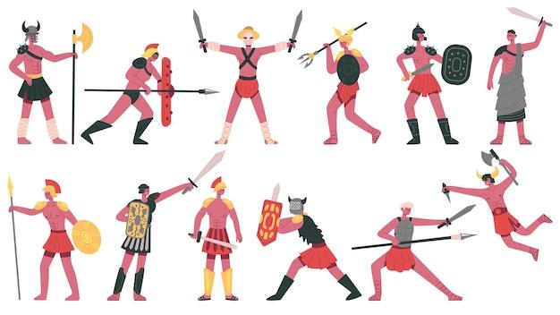 로마 검투사 캐릭터. 고대 로마의 호전적인 검투사, 무술 그리스 전사 만화 격리된 벡터 일러스트레이션 세트. 무장한 전사들, 검과 방패가 있는 갑옷 전사 로마