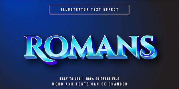 Роман, роскошный синий редактируемый текстовый эффект