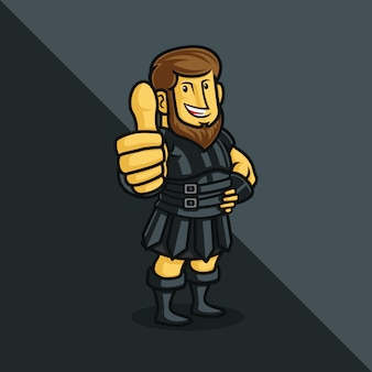 A roman soldier cartoon character  giving a thumbs up