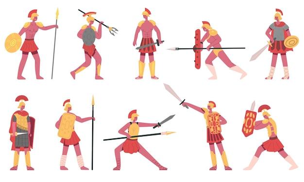 로마 군인. 고대 로마 군대 전사, 로마 군단병, 그리스 군인 만화 벡터 삽화 세트. 무술 로마 문자입니다. 헬멧과 칼을 가진 전사와 군인