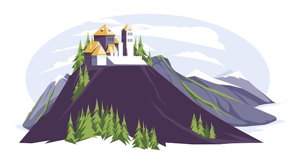 Замок в римском стиле в горах, плоский пейзаж, королевство со скалами, деревьями с башнями и окнами