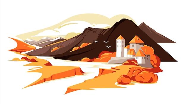 Горный замок в римском стиле в осеннем пейзаже европа франция германия германия квартира красочные иллю