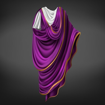 Roman toga. ancient rome commander or emperor dress male made of white, purple piece of fabric with golden border draped around body, folded gown, historical costume. realistic 3d vector illustration