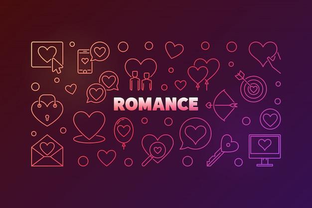 Romance concept colorful banner
