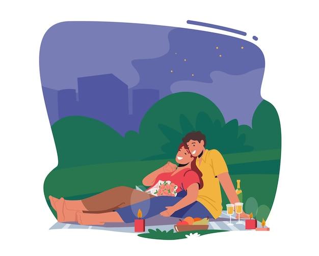 Романтическое свидание. счастливая пара мужских и женских персонажей, встречающихся на открытом воздухе на ночном пикнике, пьет шампанское. признание в любви, молодые люди романтические отношения, встреча. векторные иллюстрации шаржа